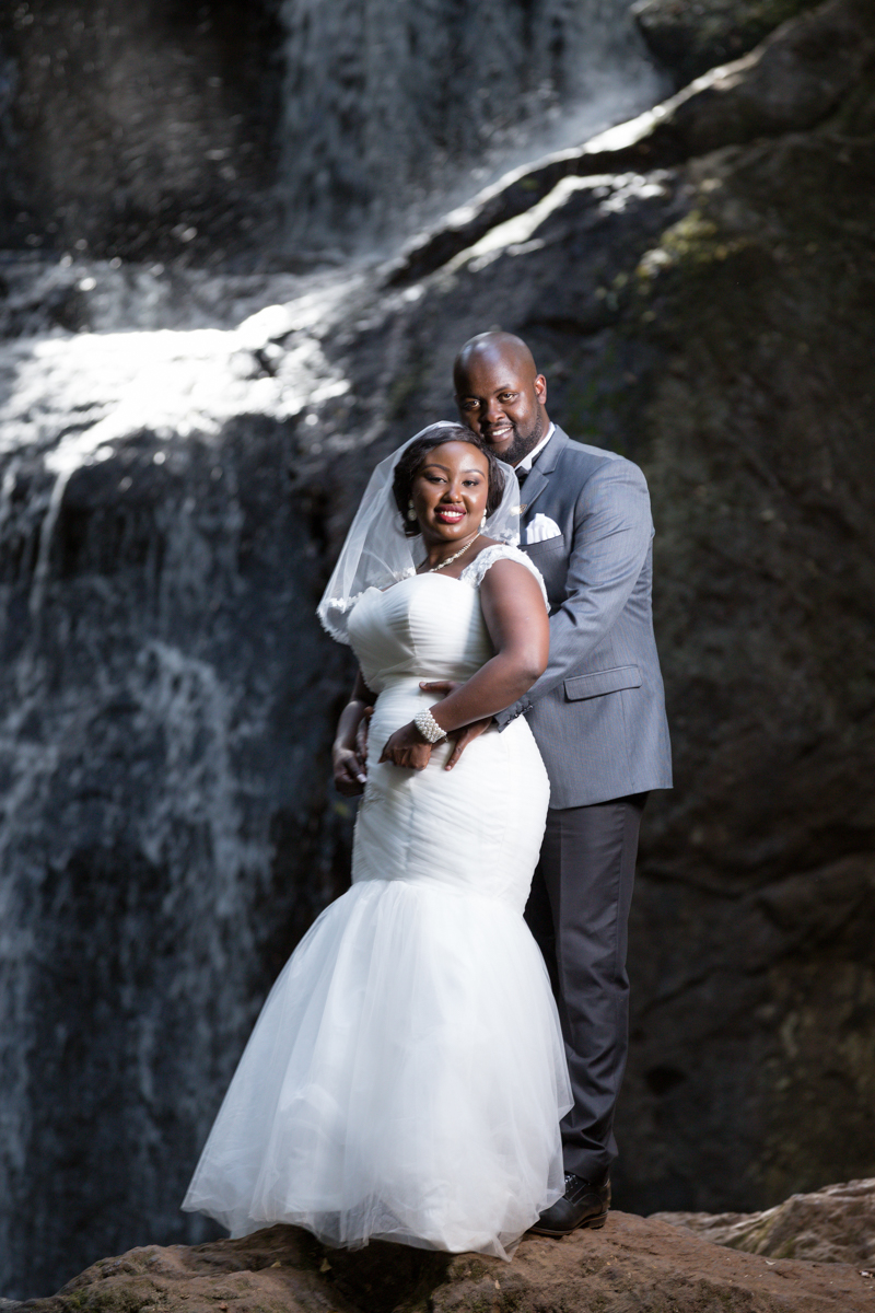 Rachael & Caxton at Karura forest nature trail waterfalls by Antony Trivet Photography